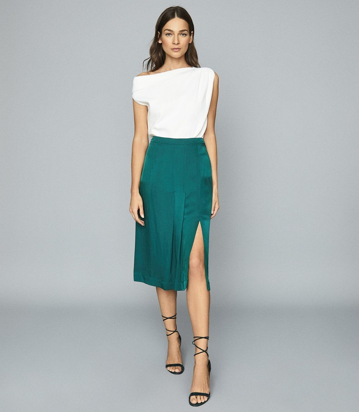 Reiss Cecilia - Pleated Twill Skirt in Teal
