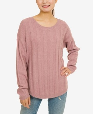 PINK ROSE Hippie Rose Juniors' Ribbed Lace-Up Sweater