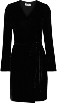 Diane von Furstenberg Julian Velvet Mini Wrap Dress