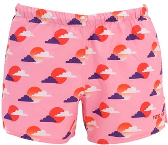 Yes I Am Sunset Print Tech Swim Shorts