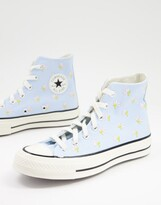 Thumbnail for your product : Converse Chuck 70 Hi floral embroidered trainers in blue