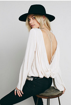 Free People Womens SOLID OPEN BACK DRAPE TOP