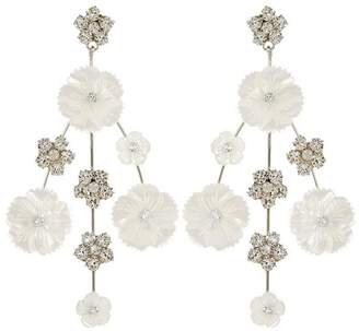 Jennifer Behr Carlotta Crystal And Mother Of Pearl Flower Drop Earrings