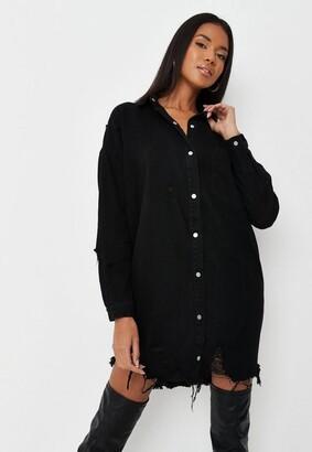 Missguided Black Distressed Hem Extreme Oversized Denim Shirt Dress