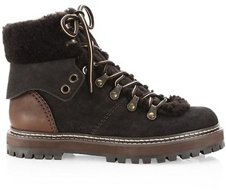 See by Chloe Eileen Lace-Up Shearling-Lined Ankle Boots