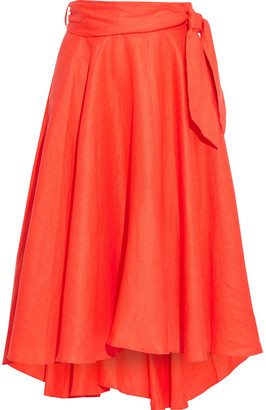 Miguelina Liviona Asymmetric Ruffled Linen Wrap Skirt