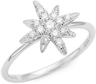 Effy 14K White Gold and Diamond Starburst Ring