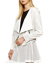 Autograph Addison Perforated Faux Leather Drape-Front Jacket
