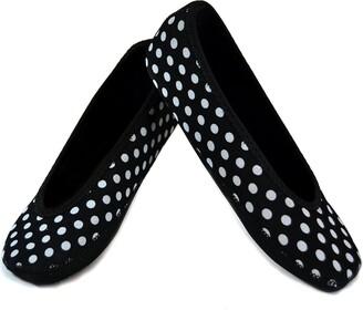 Nufoot Ballet Flats Women's Shoes Best Foldable & Flexible Flats Slipper Socks Travel Slippers & Exercise Shoes Dance Shoes Yoga Socks House Shoes Indoor Slippers Black with White Polka Dot Small