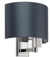 "Heathfield & Co Charles Chrome Wall Light IP44 with 8"" Crescent Dark Teal Satin Shade"