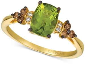LeVian Le Vian Deep Sea Blue Topaz (1-1/2 ct. t.w.) & Vanilla and Chocolate Diamond (1/6 ct. t.w.) Ring in 14k Rose Gold (Also available in Green Apple Peridot)