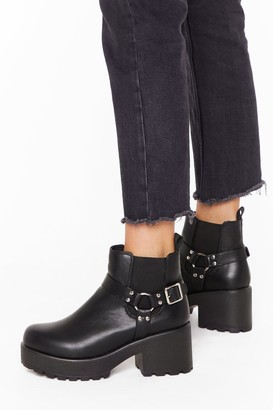 Nasty Gal Womens Don't O-Ring Me Into This Faux Leather Boots - Black