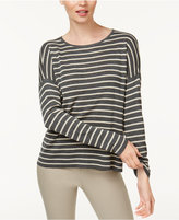 Eileen Fisher Drop-Shoulder Stripped Sweater