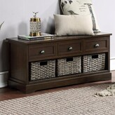 Audra Drawer Storage Bench Rosecliff Heights Color: Walnut/Gray