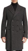 Tom Ford Classic Herringbone Double-Breasted Tailored Coat