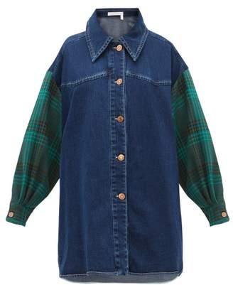 See by Chloe Oversized Checked Sleeve Denim Shirt - Womens - Denim Multi