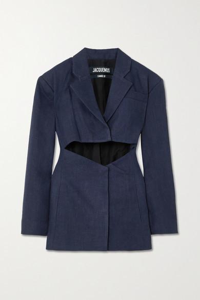 Jacquemus Cutout Linen-blend Mini Dress - Navy