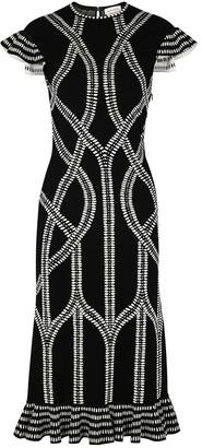 Alexander McQueen Black intarsia stretch-knit dress
