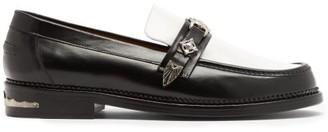 Toga Virilis Contrast-panel Buckled Leather Loafers - Black