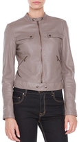 Tomas Maier Leather Zip-Front Jacket, Dust
