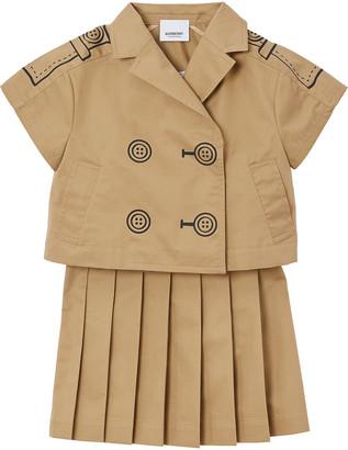 Burberry Girl's Trudie Trompe l'oeil Trench Dress w/ Pop-Off Jacket, Size 3-14