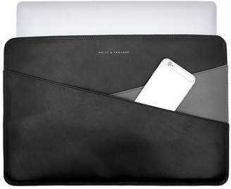Holly & Tanager 13 Inch Leather Laptop Sleeve In Black & Grey