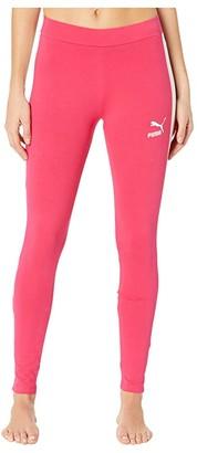 Puma Classics Logo T7 Leggings Black/Sunny Lime) Women's Workout