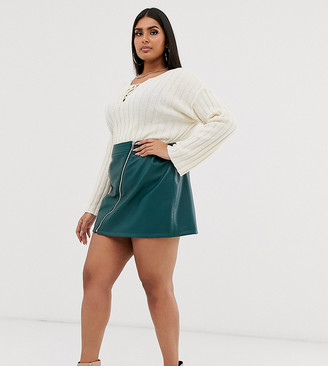 Asos DESIGN Curve leather look mini skirt with zip detail-Green