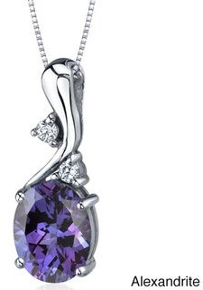 Oravo Sterling Silver Oval Gemstone Pendant Necklace