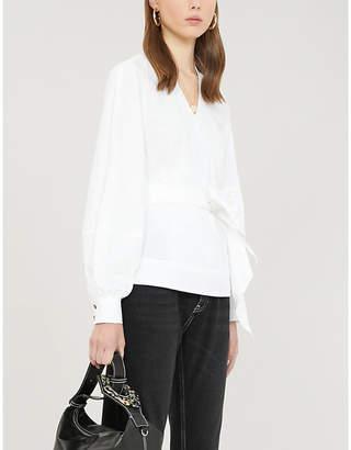 Ganni V-neck cotton-poplin wrap shirt