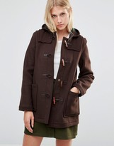 Gloverall Mid Slim Duffle Coat in Brown