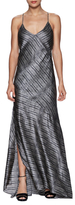 L'Agence Romy Silk Shirred Floor Length Dress