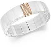 Roberto Demeglio 18K Rose Gold & White Ceramic Domino Rectangular Stretch Bracelet with Diamonds