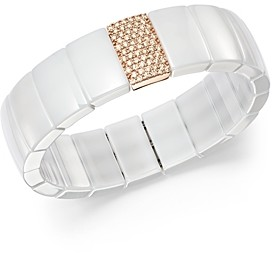 Roberto Demeglio 18K Rose Gold & White Ceramic Domino Rectangular Stretch Bracelet with Diamonds