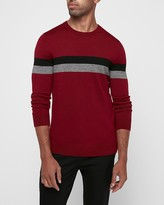 Express Merino Wool-Blend Thermal Regulating Striped Crew Neck Sweater