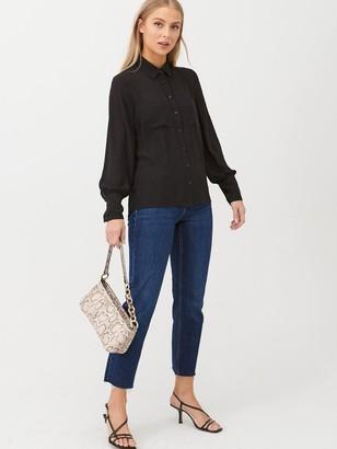 Very Pleat Back Utility Shirt- Black