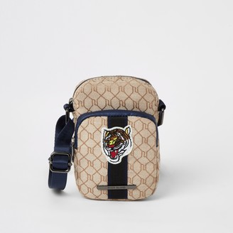 River Island Boys Brown RI monogram tiger cross body bag