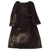 Prada Black Leather Trench coat