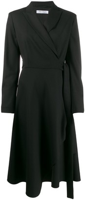 Max Mara Long-Sleeved Asymmetric Wrap Dress