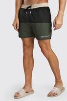 boohoo Mens Green MAN Official Mid Length Colour Block Swim Short, Green