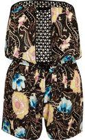 River Island Womens Black floral print lace bandeau romper