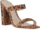 Schutz Maribel Square-Toe Leopard Suede Sandals