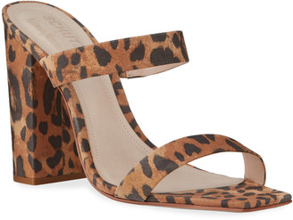 Schutz Maribel Square-Toe Leopard Suede Sandals