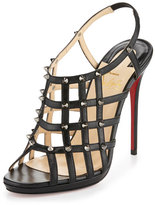 Christian Louboutin Guinievre Caged Leather Red Sole Sandal, Black/Gunmetal