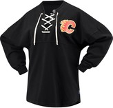 Women's Fanatics Branded Black Calgary Flames Lace Up Long Sleeve Spirit T-Shirt