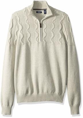Izod Men's Holiday Quarter Zip Textured 5 Gauge Sweater