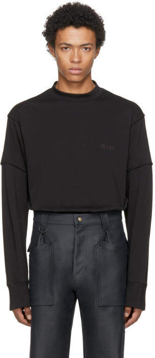 Helmut Lang Black Long Sleeve Military Cocoon Vienna T-Shirt