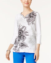 Alfred Dunner Easy Going Embellished Scroll-Print Top