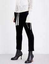 Ann Demeulemeester Blixa tapered cropped crushed-velvet trousers
