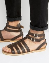 Frank Wright Gladiator Sandals In Brown Leather